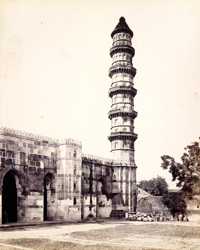Minaret and part of façade of the Mosque of Muhammad Ghaus Gwaliari, Ahmadabad